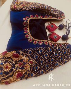 Wedding Saree Blouse Designs, Pattu Saree Blouse Designs, Half Saree Designs, Fancy Blouse Designs, Dress Neck Designs, Hand Work Blouse Design, Maggam Work Designs, Bandhani Saree, Maggam Works