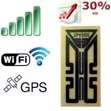 Antena que aumenta sinal de telefone celular smartphone wifi. A Antena Amplificadora é um dispositivo passivo que captura a radiação dispersa no corpo do telefone e o redireciona para a antena principal, melhorando assim o desempenho do telefone.