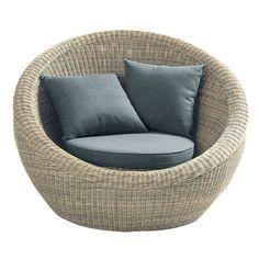 Wicker garden armchair
