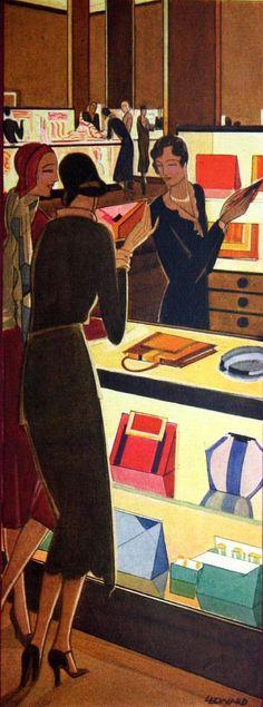Art Deco illustration by Leonard from 'Style, Design, Color, Texture Du Pont Fabrikoid' (1930). Published by E.I. Du Pont de Nemours & Company.