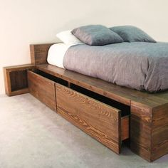 Solid wood bed with drawers Bed Frame Design, Bedroom Bed Design, Bedroom Furniture Design, Bed Furniture, Home Bedroom, Bedroom Decor, Wooden Bed With Storage, Bed Designs With Storage, Bed Frame With Storage