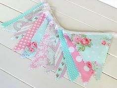 Baby Bunting, Fabric Banner, Wedding, Baby Shower, Shabby Chic, Nursery Decor, Cake Smash - Pink, Aqua Blue, Shabby Chic, Flowers, Roses by thespottedbarn on Etsy https://www.etsy.com/listing/249763843/baby-bunting-fabric-banner-wedding-baby