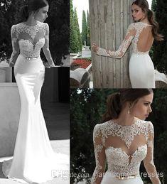 Wholesale A-Line Wedding Dresses - Buy New Sheer Wedding Dresses Berta Winter 2014 Illusion Bateau Round Back Applique Gold Belt Sweep Train Mermaid Wedding Bridal Dresses Gowns, $105.92 | DHgate