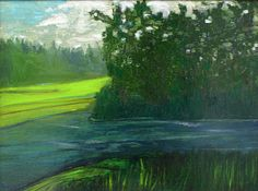 "Marc Awodey Mixed Media painting ""Frog Pond"" at the Bryan Memorial Gallery Jeffersonville, VT"