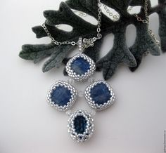 beaded pendant with kyanite and Swarovski Frozen