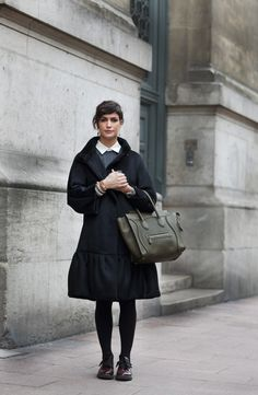 Simple Dressing. <3 the Coat and Bag. And those shoes are lovely.