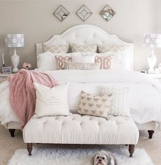 The color palette is so soft and soothing. Just what you need in a bedroom.  #Romantichomedecor