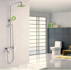 BECOLA Simple shower set  All copper cold square shower Booster  three top spray A full set of rotating sprinkler