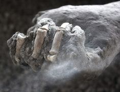 Hands clenched in agony.  Pompeii body cast.