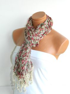 Multicolor Scarf Turkish Fabric Fringed Guipure by WomanStyleStore, $19.90
