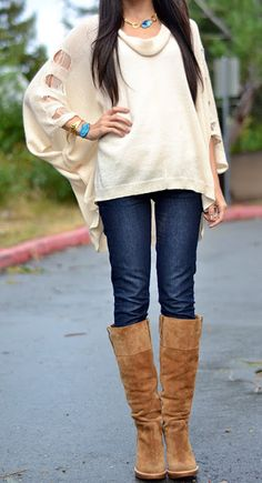 Combo: sweater, jeans, boots, blue accessories