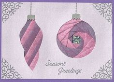 FREE PAIR OF ORNAMENTS PATTERN - Iris Folding Christmas Collection on CD - 10 free samples - visit site and click on images to download free patterns.