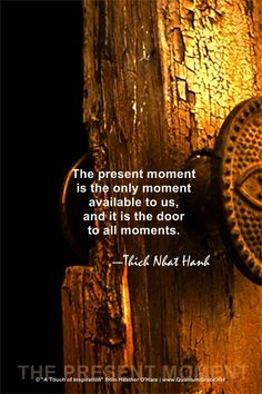 """The present moment is the only moment available to us, and it is the door to all moments."" —Thich Nhat Hanh: www.QuantumGrace.net ..*"