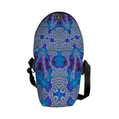 Blue White Lace Pattern Mini Messenger Bag