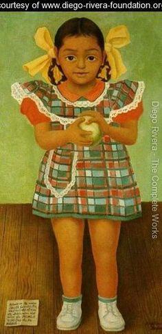 Portrait of the Young Girl Elenita Carrillo Flores (Retrato de la nina Elenita Carrillo Flores) 1952 - Diego Rivera - www.diego-rivera-foundation.org