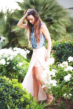 Cream and Sugar Please - Romantic Edgy Rock and Roll Denim Vest Maxi Skirt - Summer Style @studio1220