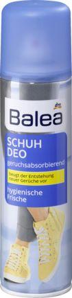 Balea Schuhdeo beugt der Entstehung neuer Gerüche vor. Effiziente Deo-Wirkstoffe gegen Geruchsbildung. Für hygienische Schuhfrische. Das Balea Schuhdeo ist...