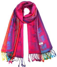 Shri Metallic Elephant Pashmina Wrap - 4 Colors