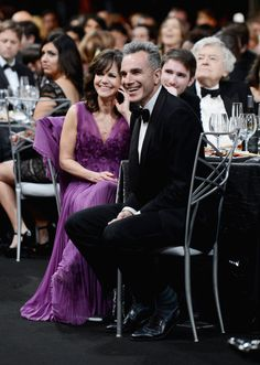 See All the Celebrity Fun Inside the SAG Awards: Sally Field and her Lincoln costar Daniel Day-Lewis laughed during the show.