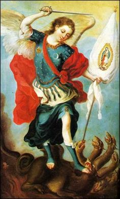theraccolta:  Saint Michael Holding a Banner Bearing the Image of Our Lady of Guadalupe