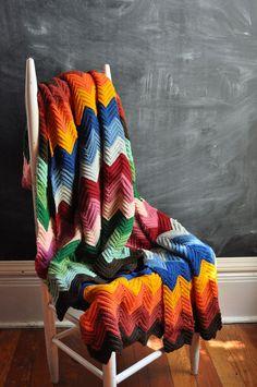 Vintage Afghan Blanket  Rainbow Zig Zags Wool  Plaid