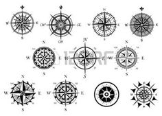 old west: Vintage nautical or marine wind rose and compass icons set, for travel, navigation design