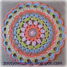 crochet mandala - free patternhttp://zootyowlcards.blogspot.com/2014/06/dahlia-mandala-pattern.html