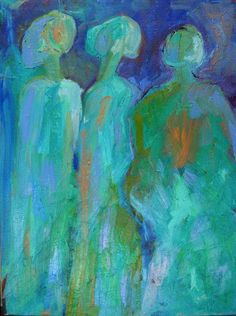 Three Graces Guardians Female Oil Painting Expressionist Abstract Art Canadian Artist Julia Trops