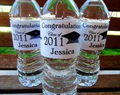 graduation water bottle stickers, high school or college graduation stickers, custom graduation stickers