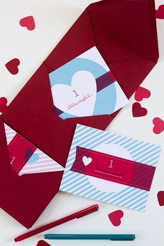 Create an accordion envelope folder that holds printable love coupons for your valentine.