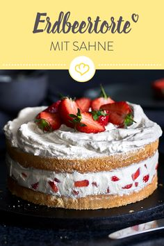 cream cake - with extra airy biscuit dough - Bake yourself a super airy strawberry cake! -Strawberry cream cake - with extra airy biscuit dough - Bake yourself a super airy strawberry cake! Easy Easter Desserts, Birthday Desserts, Easter Recipes, Dirt Cake, Dessert Simple, Strawberry Cream Cakes, Strawberries And Cream, Healthy Dessert Recipes, Health Desserts