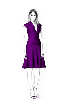 Dress With Short Sleeves - Sewing Pattern #4437. Made-to-measure sewing pattern from Lekala with free online download.