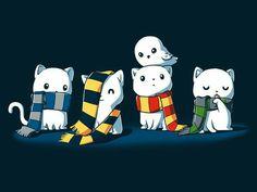 Ravenclaw, Hufflepuff, Gryffindor, Slytherin, cute, neko, cats, Hedwig, owl; Kawaii