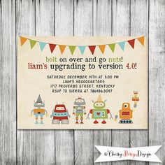 Robot Invitation, Robot Birthday Invite- 5X7 PRINTABLE on Etsy, $10.00