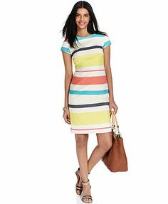 Tommy Hilfiger Short-Sleeve Striped Dress