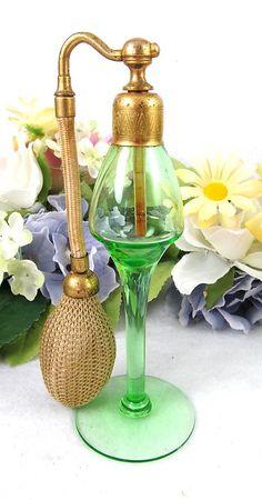 TALL ART DECO DeVILBISS GREEN VASELINE GLASS PERFUME BOTTLE ATOMIZER | eBay