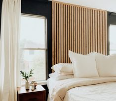Wood Slat Wall, Wood Slats, Master Bedroom, Bedroom Decor, Bedroom Modern, Diy Headboard Wood, White Bedroom Walls, Black Curtains Bedroom, Wooden Wall Bedroom