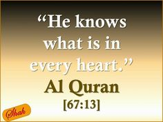 """ HE [ Allah - God ] KNOWS WHAT is in EVERY HEART "" - Quran - 67:13 http://quran.ksu.edu.sa/index.php?l=en#aya=67_13"