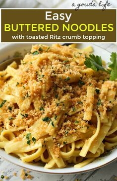 Buttered Noodles topped with crispy crumbled Ritz topping ~ A Gouda Life  PASTA Buttered Noodles ~ tender egg noodles simmered in a buttery chicken stock sauce sprinkled with toasted Ritz cracker fresh herb crumb topping. #butterednoodles #pasta #easybutterednoodles # Side Dishes For Chicken, Pasta Side Dishes, Pasta Sides, Chicken And Egg Noodles, Homemade Egg Noodles, Pasta Noodles, Egg Noodle Recipes, Pasta Recipes, Casserole Recipes