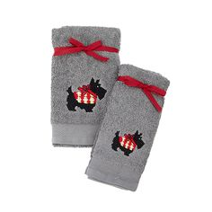 Scottie Dog Towel Collection Fingertip Towels, Green Sweater, Westies, Cotton Towels, Drink Sleeves, Dog Lovers, Scottie Dogs, Scottish Terriers, Bows
