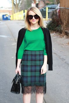 Poor Little It Girl - Tartan Plaid Skirt and Green Sweater - How To Dress For Work