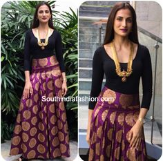 Shilpa Reddy's Indo-Western Look – South India Fashion Lehenga Designs, Kurta Designs, Blouse Designs, Dress Designs, Indian Skirt, Indian Dresses, Indian Outfits, Indian Clothes, How To Wear Shirt