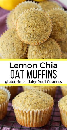Lemon Chia Oat Muffins (gluten-free, dairy-free, flourless) – Mile High Mitts You are in the right place about oatmeal pancakes Muffins Sans Gluten, Dairy Free Muffins, Dessert Sans Gluten, Bon Dessert, Healthy Muffins, Gluten Free Desserts, Dairy Free Recipes, Healthy Baking, Healthy Desserts
