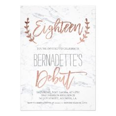 Rose Gold Feathers Black Marble 18th Birthday Invitation 18th