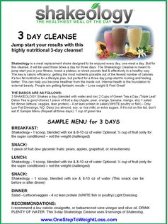 Shakeology 3 Day Cleanse results. 3 Shakeology Cleanse reviews and what the 3 Day Refresh has to offer here: http://www.tipstoloseweightblog.com/shakeology/shakeology-3-day-cleanse
