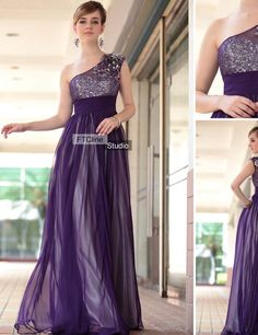 Purple Evening Dress with Man-Made flowers - Chiffon, Purple and Silver Evening Dress. #Prom #Dress #Fashion