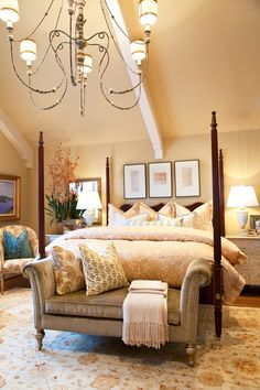 Classy guest bedroom with their own attached bathroom. I think I'd have it on the first floor or the basement.