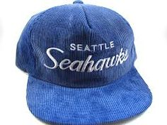 Sports Specialties - Seattle Seahawks Script Snapback Corduroy Hat - 1990s.  Throwbak · Vintage Hats 175476603