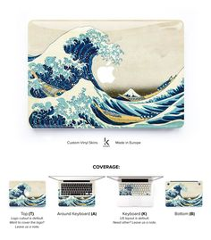 """Beautifully printed Hokusai Katsushika's """"Great Wave of Kanagawa"""", made for your MacBook to protect and beautify it. Skin Macbook Pro, Macbook Hacks, Apple Laptop Macbook, Macbook Case, Laptop Skin, Macbook Stickers, Macbook Decal, Harry Potter Iphone Case, Macbook Accessories"""