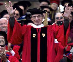 "Leonard Nimoy encourages Boston University graduates to ""live long and prosper."""
